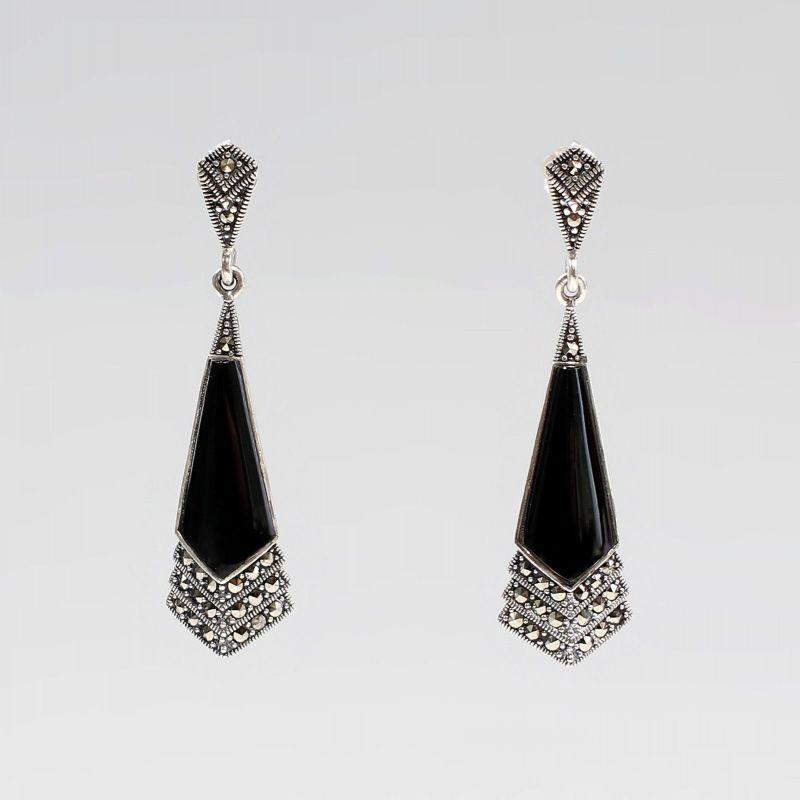 925er Silber Onyx Markasiten Ohrringe Antikstil 9927561