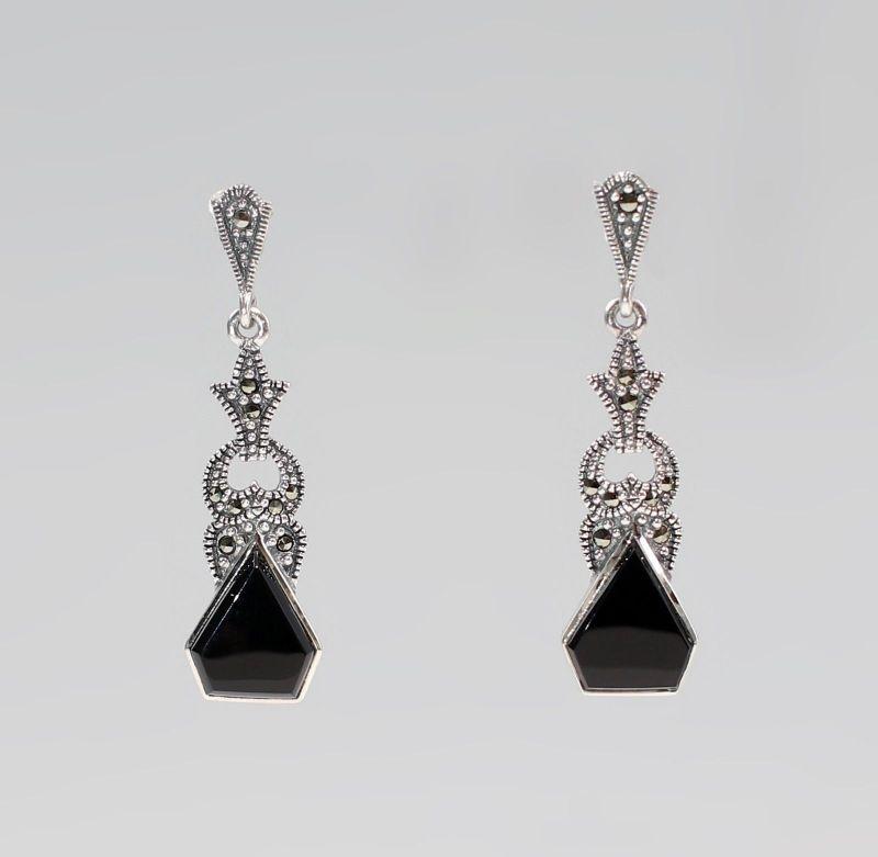 925er Silber Onyx Markasiten Ohrringe Antikstil 9927562