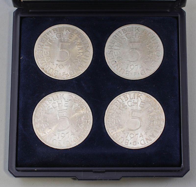 8008018 BRD Kursmünzen 4 x 5 DM 1974 Deutsche Mark Silber