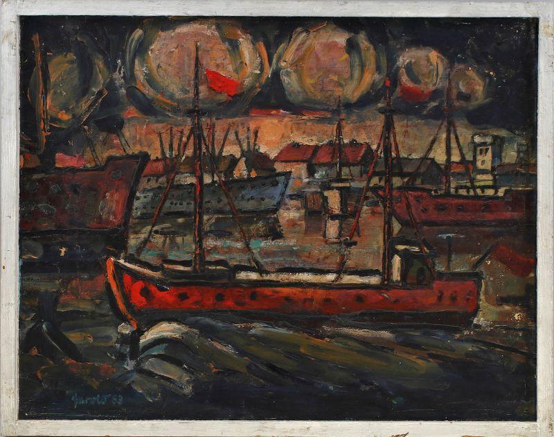 8060195 Öl-Gemälde signiert Nächtliche Hafen Szene Boote Frachter 1963