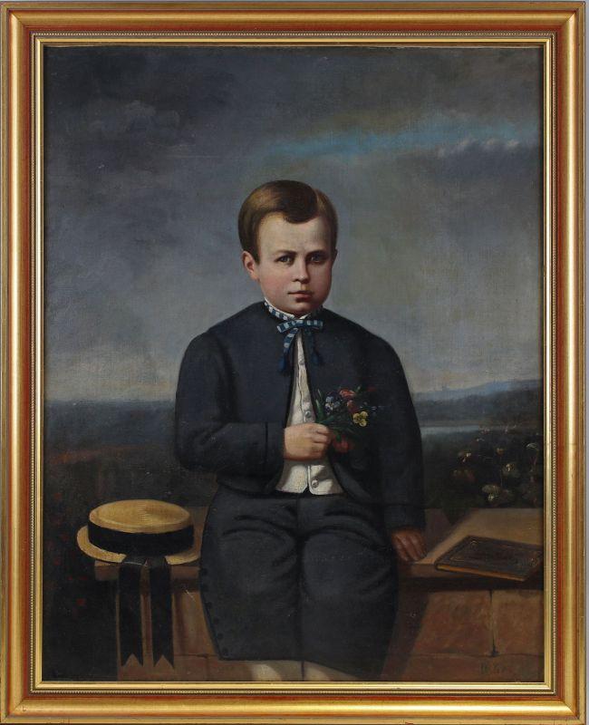 8060134 Öl-Gemälde Porträt eines Knaben Spät-Biedermeier Sizilien 1868