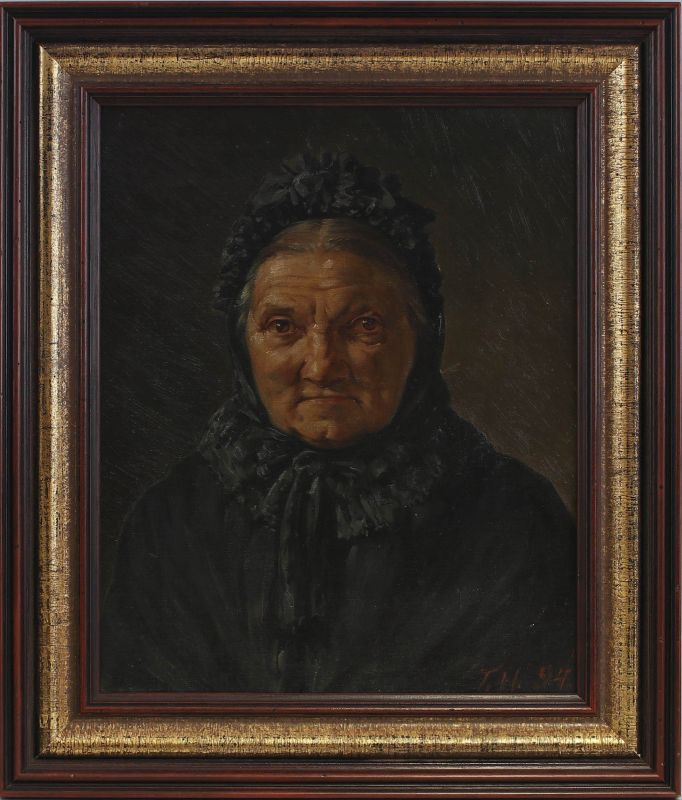 8060127 Öl-Gemälde Monogrammist T.H. 1894 Porträt einer alten Frau