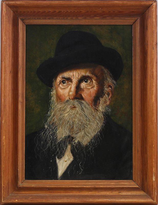8060118 Öl-Gemälde sign. Schiegl 1905 Porträt eines Rabbiners