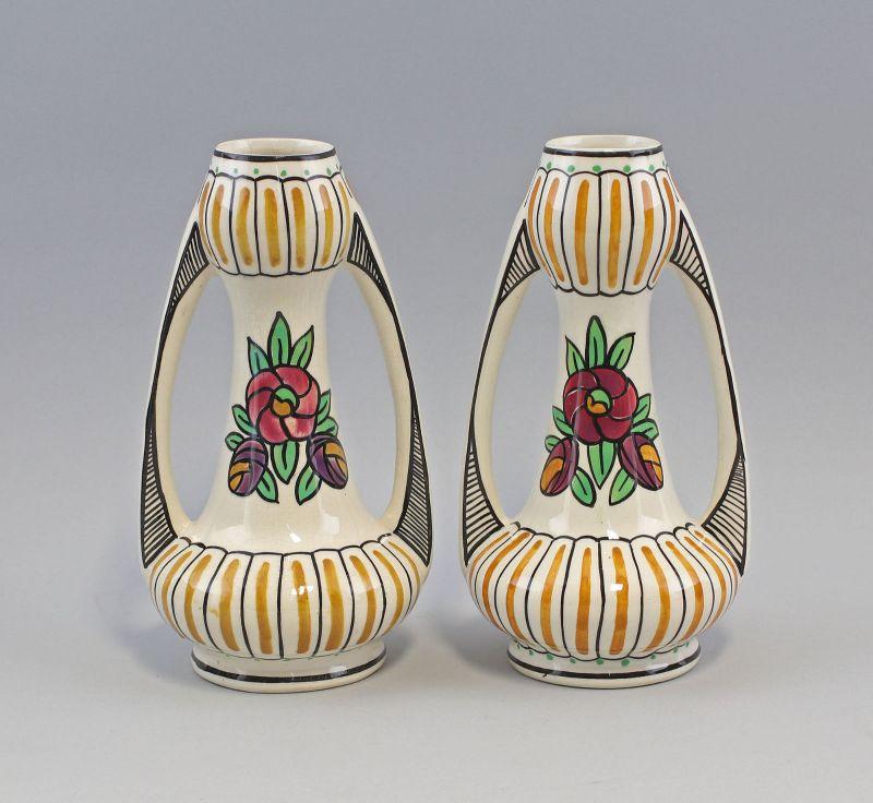 8045005 Paar Jugendstil Vasen Amphore Keramik