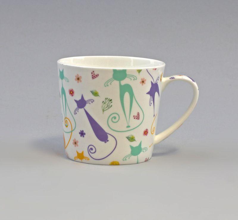 9952484 Becher Tasse Brillantporzellan Katze Retro H9cm 0,4L