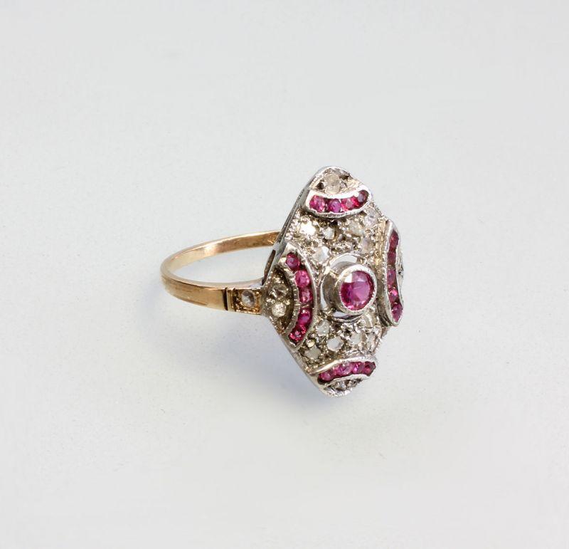 7925109 Antiker Diamant-Rubin-Ring 585er Gold u. 835er Silber Gr. 58