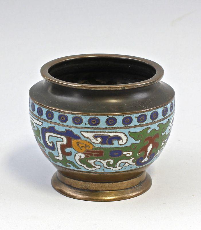 Cloisonné-Vasenschale  Vase Schale Messing alt 99839021