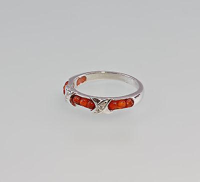 925er Silber Ring mit Karneol u. weißen Steinen Onyx Gr.56/57  9907236