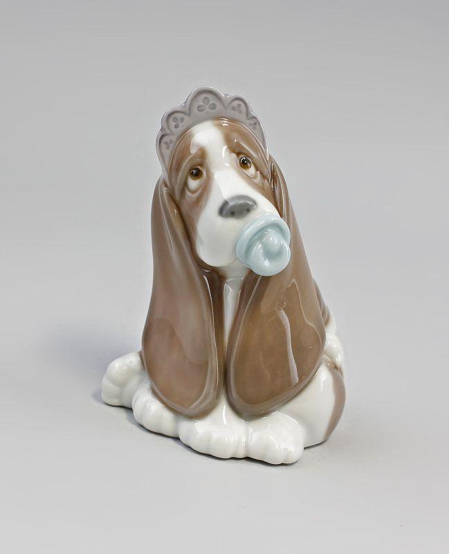 Hundebaby mit Schnuller Porzellan Lladro Spanien 9956085