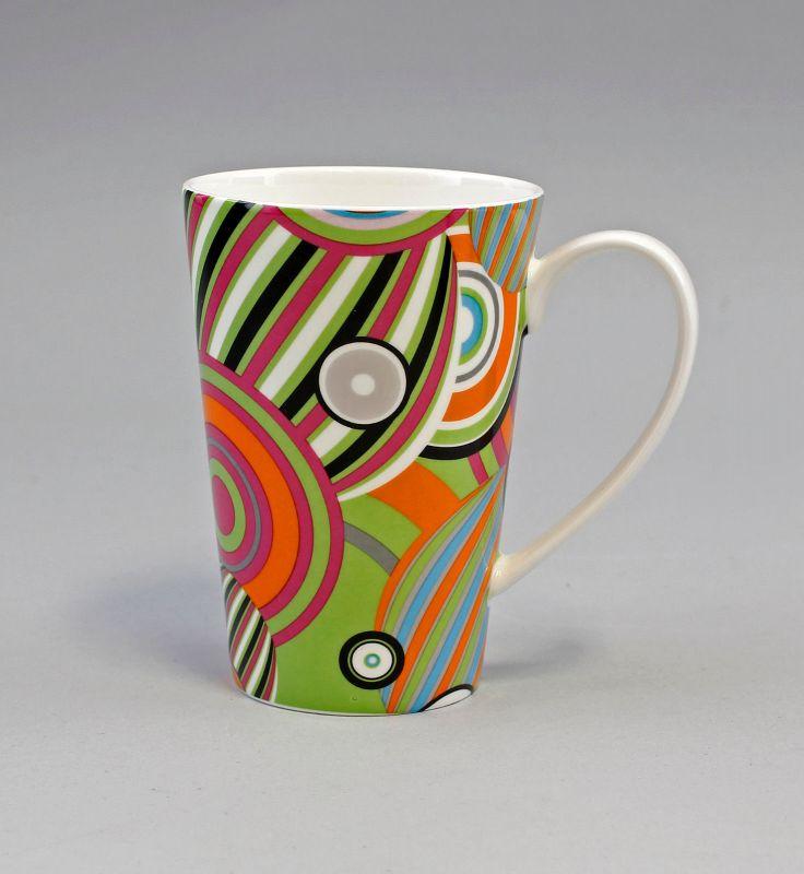 52183 Becher Tasse Porzellan Dekor bunte Kreise H11cm 0,25L