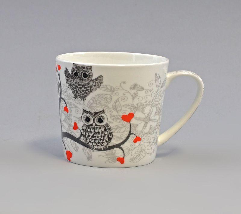 52478 Becher Tasse Porzellan Dekor Eulen mit Herz H9cm 0,4L