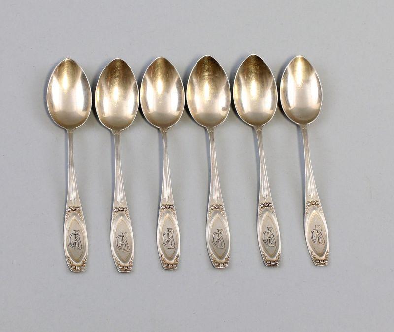 8130033 Satz 6 silberne Mokka-Löffel Jugendstil 800er Silber 57 g