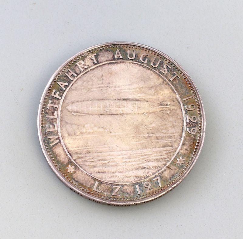 8108002 Silber-Medaille Weltfahrt 1929 Zeppelin 127 900er Silber