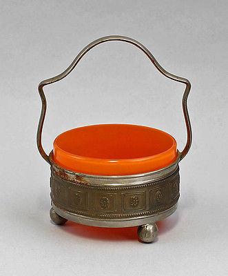 99835109 Konfekt-Schale Tangoglas orange um 1910 Metallmontierung