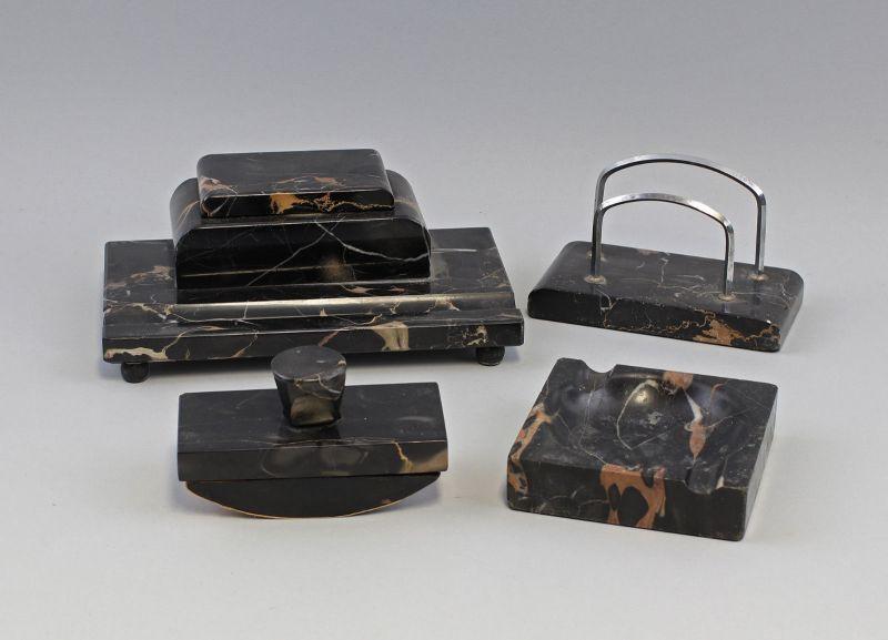 99870026 Schreibtischgarnitur um 1910 Stein Briefhalter, Aschenbecher Löschwiege