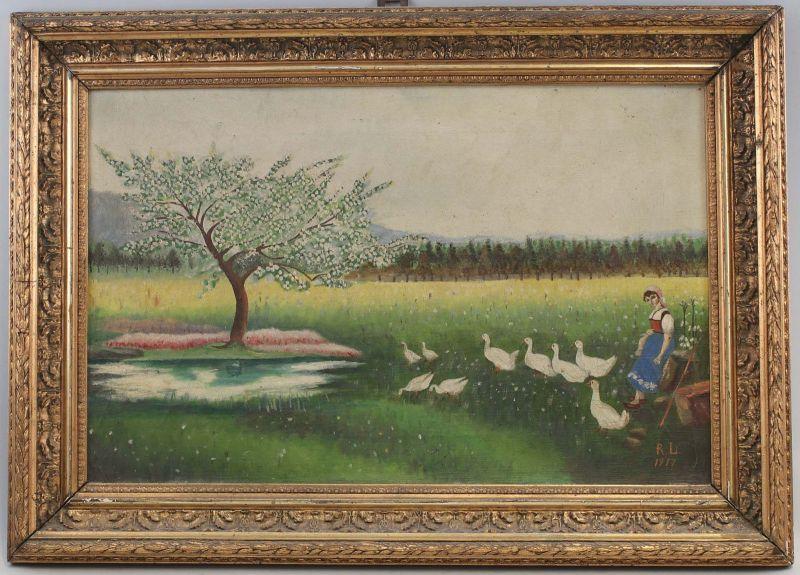 99860200 Öl-Gemälde Monogramm RL 1917 Bauern Magd mit Gänsen Naive Malerei