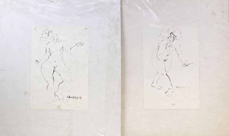 8063087 Paar Tusche-Zeichnungen sign. Margharita del Balzo 1994 Weiblicher Akt