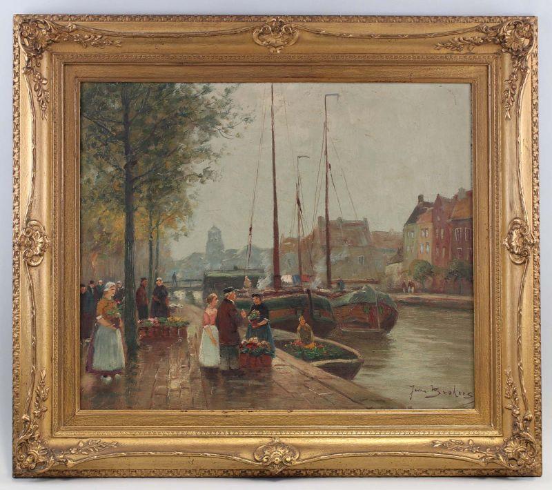 99860199 Öl-Gemälde signiert Brokers Flämische Markt Szene Flandern Grachten