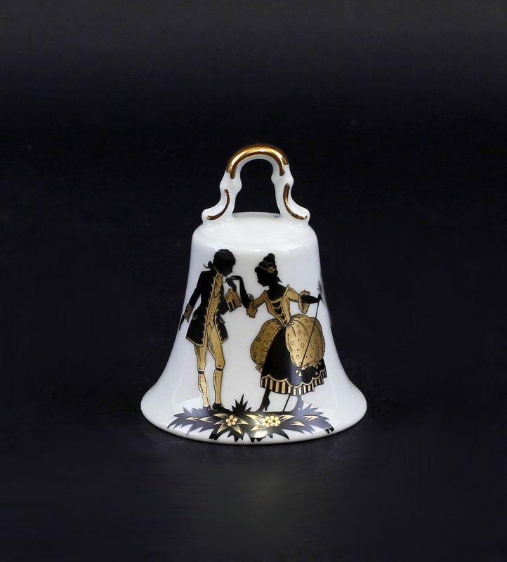 Porzellan Tischglocke mit Watteau-Szene Lindner Bayern 9986073