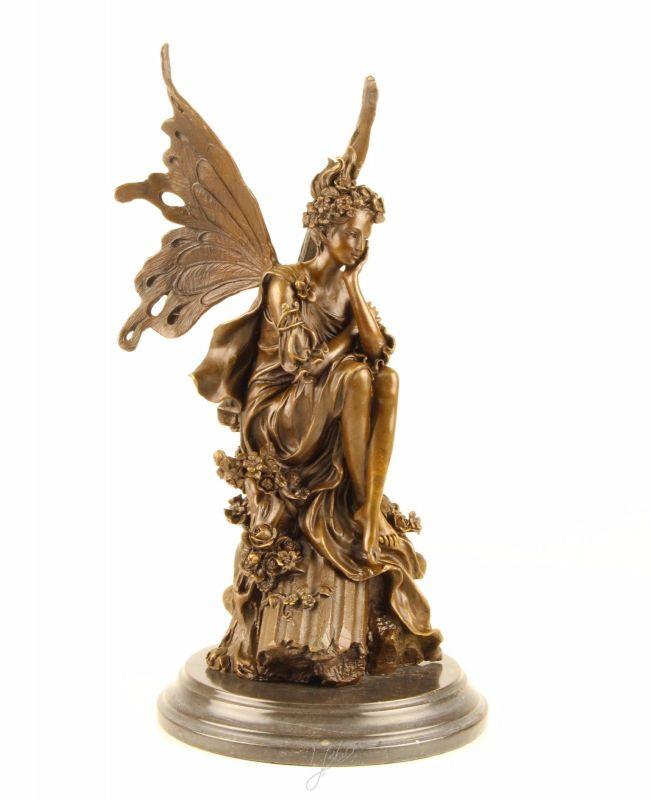 Bronze Skulptur Fee sitzend nachdenklich neu 9973379-dssp