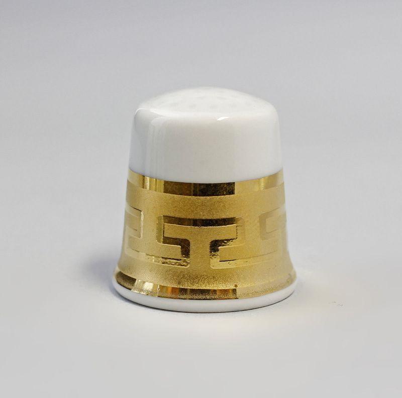 Kämmer Porzellan Fingerhut Gold Mäander Ornament 2,5x2,6cm 9988223