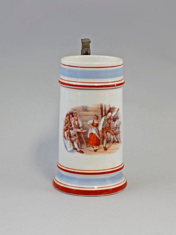 Porzellan-Bierkrug um 1900 Wirtshausszene 99848036