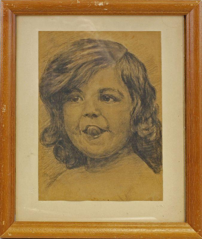 Kohlezeichnung Kinderkopf freches Porträt eines Mädchens 99863084