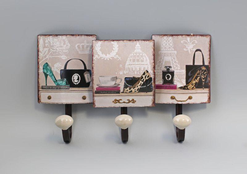 9973156 Haken-Leiste Garderobe Metall Mode Paris Vintage Shabby Chic