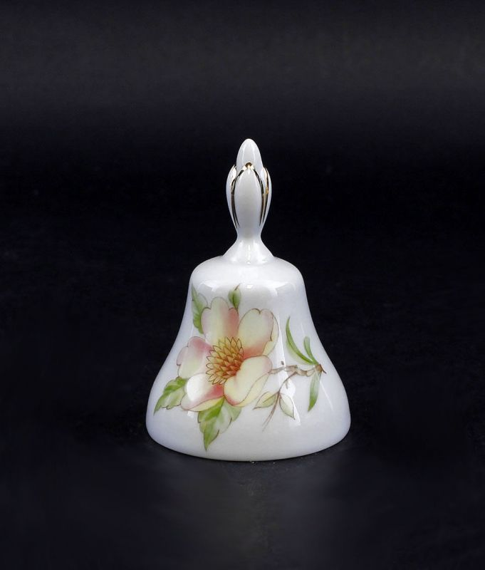 Porzellan Tischglocke mit rosa Blume Lindner Bayern 9986064