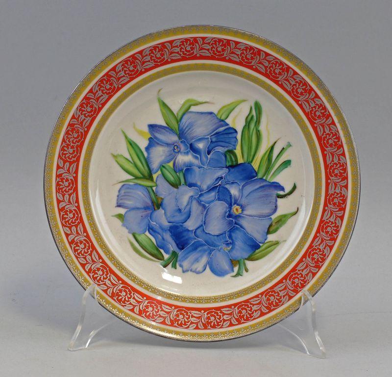 8140076 Porzellan Bild-Teller Blumen handbemalt Hutschenreuther 1946-48
