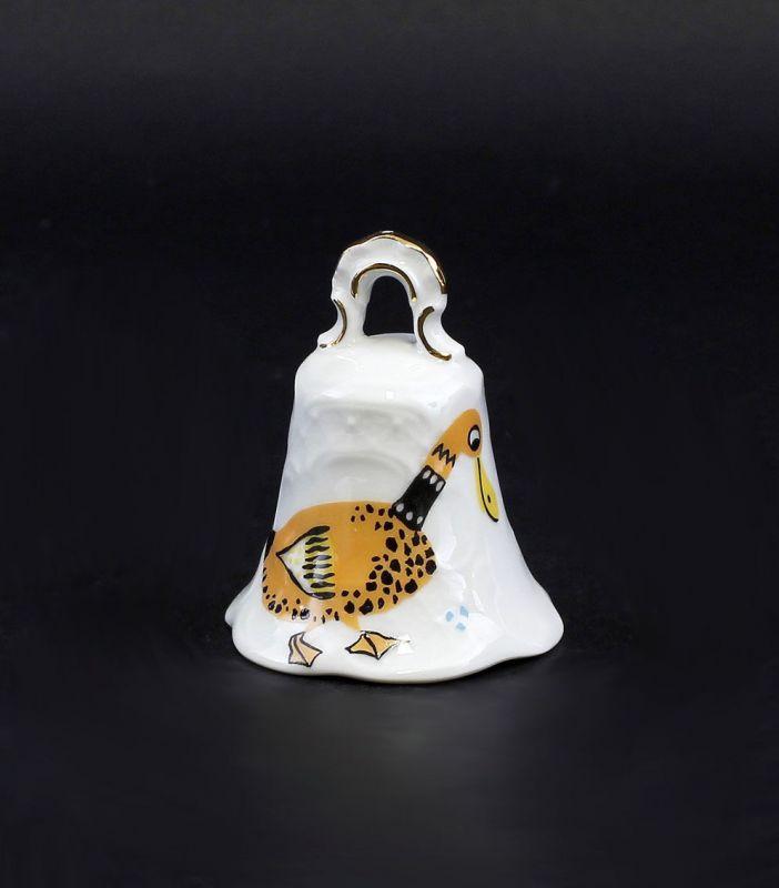 Porzellan Tischglocke mit Dekor in Form einer Ente Lindner Bayern 9986051