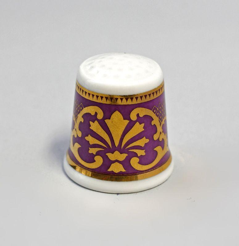 Kämmer Porzellan Fingerhut Blume Ornament gold/lila 2,5x2,6cm 9988238