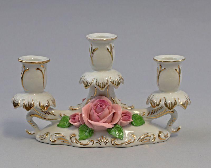 9959219 Ens Porzellan 3-armiger Leuchter Rosen gold 12x18cm