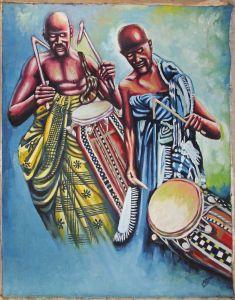 8060203 Öl-Gemälde signiert Iddriss 2014 Ghana afrikanische Trommler gerollt