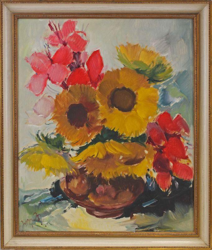 8060179 Öl-Gemälde sign. Hans Kowak Sonnenblumen Stillleben