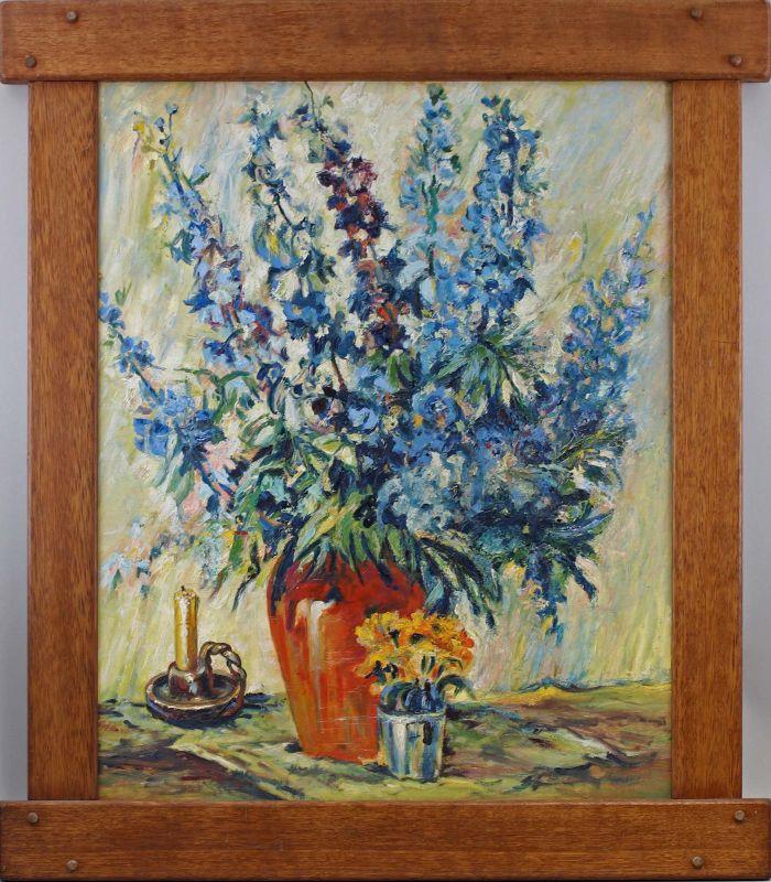 8060177 Öl-Gemälde Blumen Stillleben Lupinen Mitte 20. Jh. Eicherahmen
