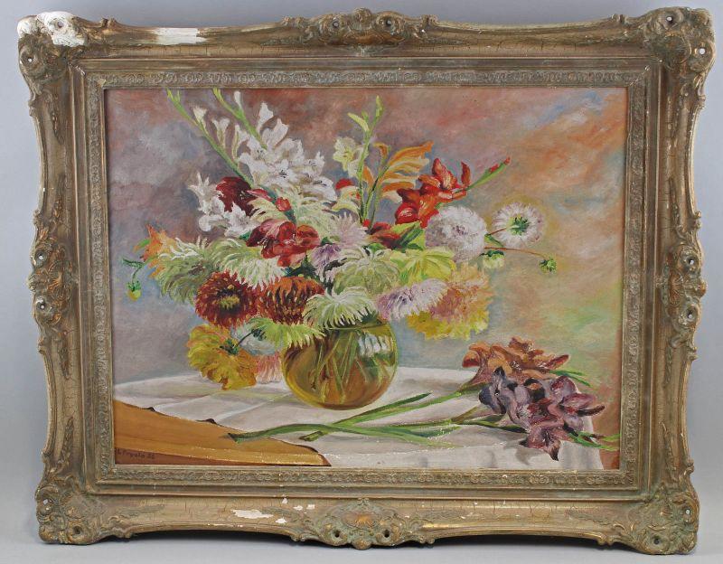 8060176 Öl-Gemälde signiert Frgala 1936 Blumen Stillleben Tschechien