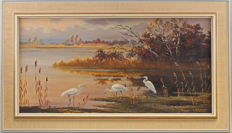 8060166 Öl-Gemälde sign. Hirschel Schwäne am Weiher im Dämmerlicht 70er/80er