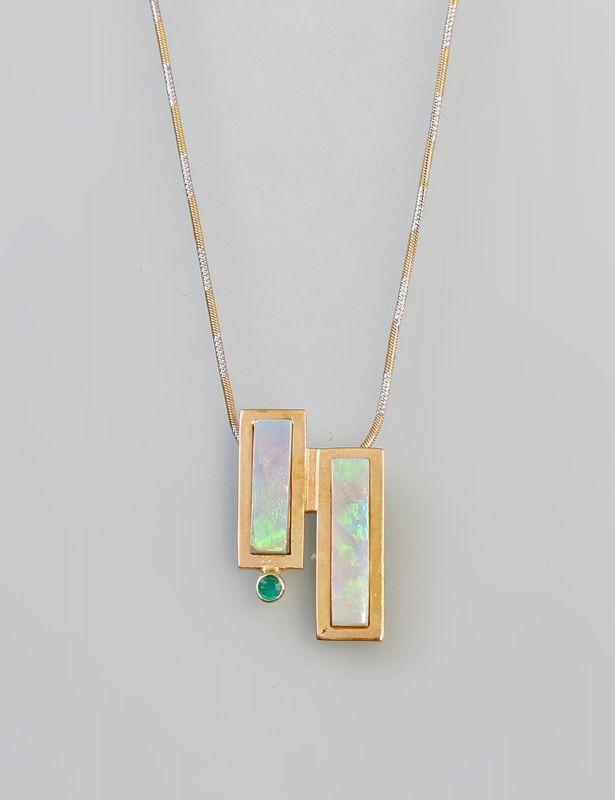 8025002 Opal-Smaragd-Anhänger 750er Gold  an Kette 585er Gold