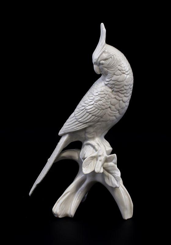 9959234 Porzellan Figur Nymphensittich weiß Vogel Ens H23,5cm