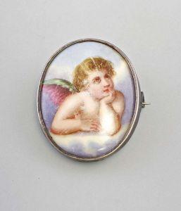 Silber Spätbiedermeier-Brosche Porzellan 19.Jh. 99825162