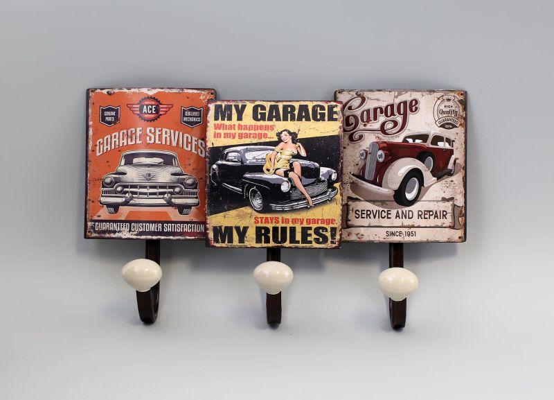 Haken-Leiste Garderobe Metall Oldtimer Auto  Vintage Shabby Chic 9973168