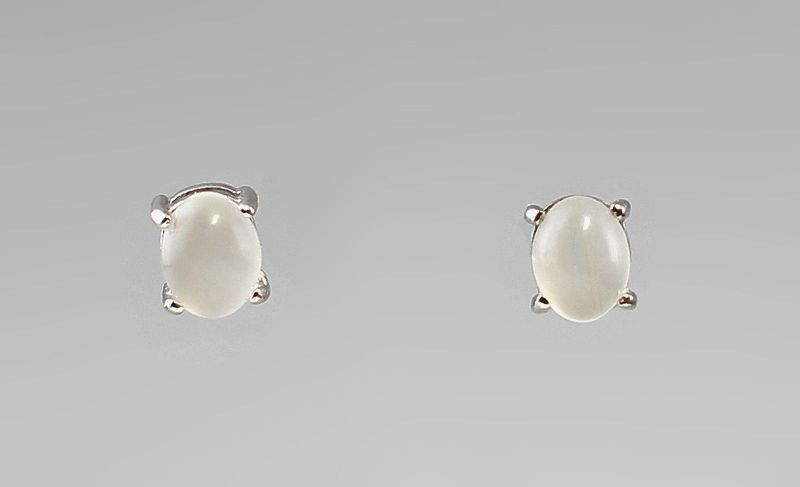 Weiße Mondstein Ohrstecker 925er Silber 9927352