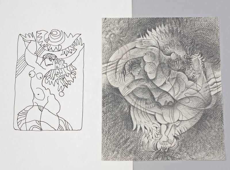 2 Erotische Zeichnungen signiert Samokhval Tusche Kohle Erotik Ukraine 99850004