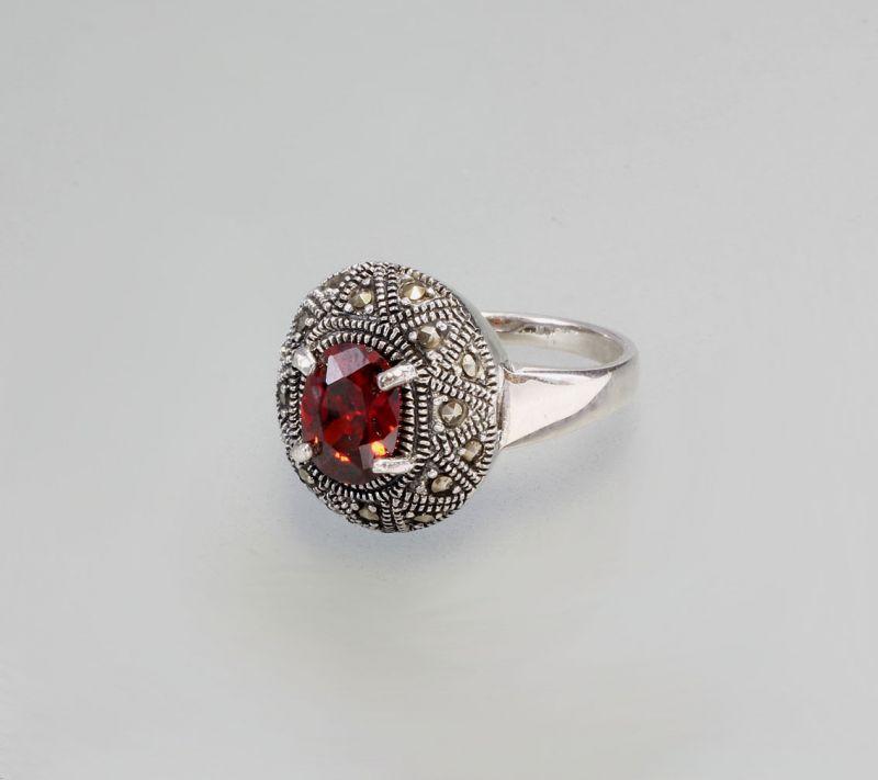 925er Silber Roter Zirkonia-Ring Neu Gr. 62  9907093