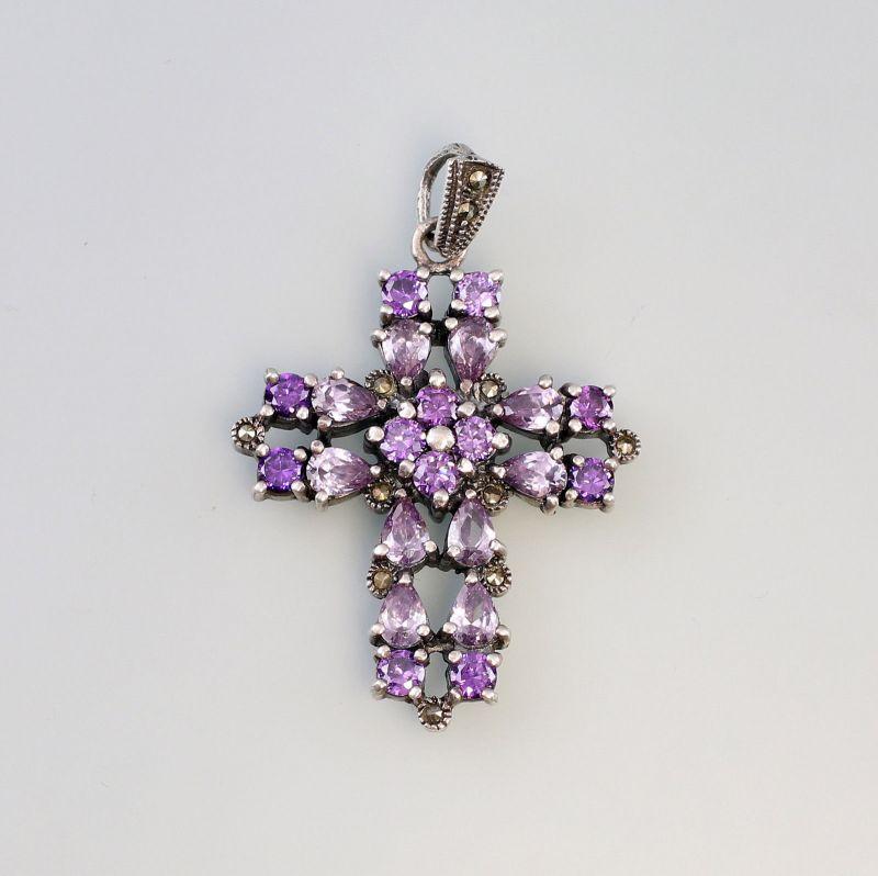 Kreuz-Anhänger 925er Silber mit violetten Steinen 99825213