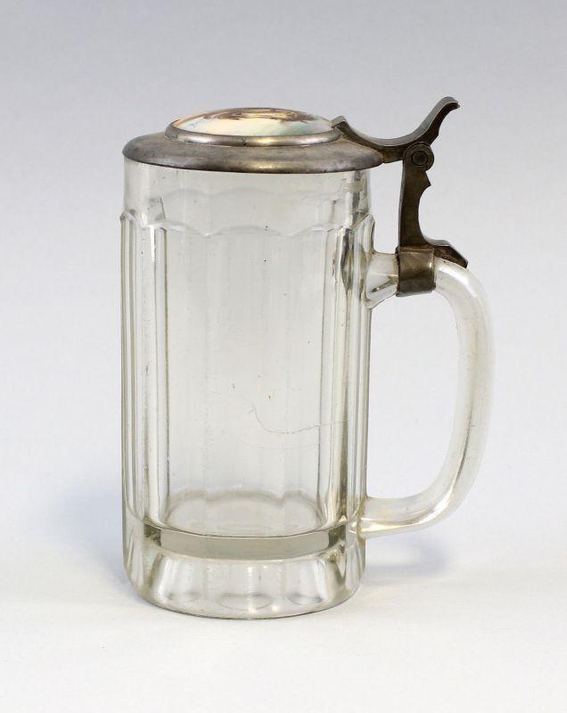 8135046 Glas Bierkrug 9/20 Liter Porzellandeckel handbemalt Pferdekopf Pferd