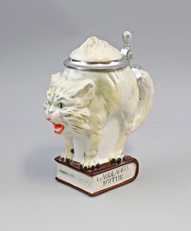 Bierkrug Sammler-Krug Humpen Katze weiß 0,5l Ernst Bohne H20cm 9941809