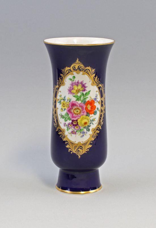 8040001 Kobalt - Vase Meissen ab 1934 Blumen-Dekor H25cm