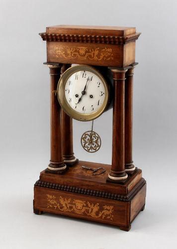 Portal-Uhr 19. Jh. Klassizismus Intarsien 99820002